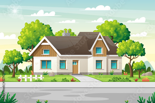 Leinwand Poster Country house with large garden on a street in summer