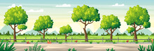 Summer Landscape Panorama. Vector Illustration With Separate Layers.