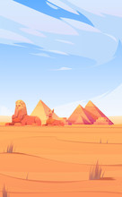 Egyptian Desert With Pyramids,...
