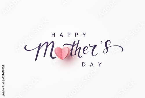 Obraz Mother's day greeting card. Vector banner with pink paper heart. Symbol of love and calligraphy text on gray background. . - fototapety do salonu