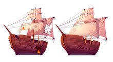 Retro Wooden Ships With White ...