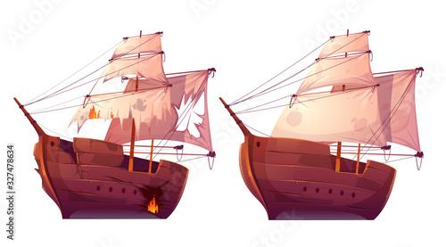 Retro wooden ships with white sail cartoon vector Canvas Print