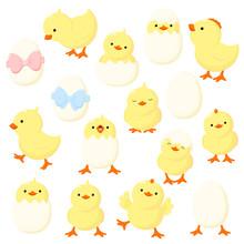 Set Of Cute Cartoon Chicken In...