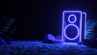 Sound speaker in neon light in beach. Futuristic night party banner concept. Summer party. Cyberpunk poster. Party invitation. Promotion template. 3d illustration. 3d render.