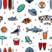 Summer Icons Seamless Pattern ...