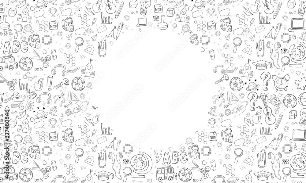 Fototapeta Concept of education. School background with hand drawn school supplies art design vector.