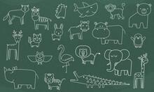 Concept Of Education School Chalkboard With Zoo Animals Line Art Design Vector.