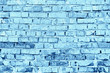 canvas print picture - Background concept, old brick wall tinted in blue color.