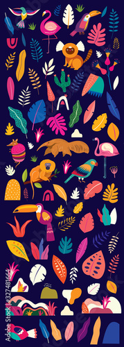 Vector colorful illustration with tropical flowers, leaves, monkey, flamingo and birds Canvas Print