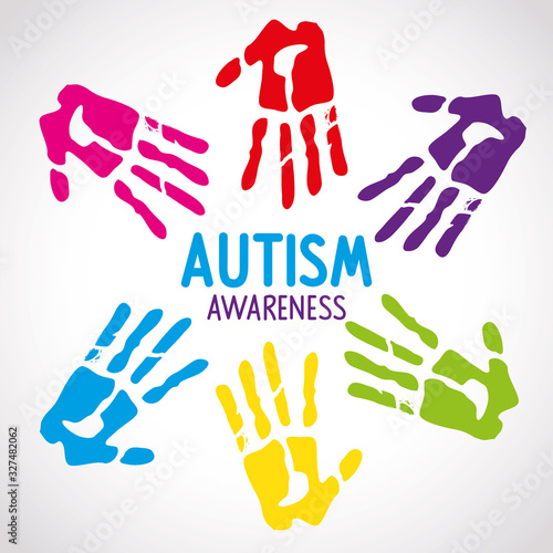 Photo world autism day with handprints vector illustration design