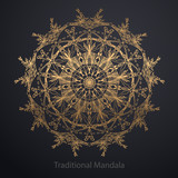 Gold mandala on black background. Ethnic pattern.