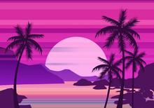 Sunset Beach Palm Trees Silhou...