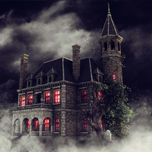 Foggy Scenery With An Old Gothic Mansion With Red Glowing Windows At Night. 3D Render.