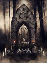 Dark Scene With A Gothic Altar...