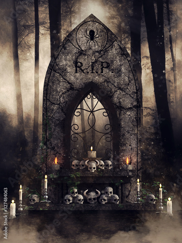 Dark scene with a gothic altar with skulls and candles in the woods at night Fototapete