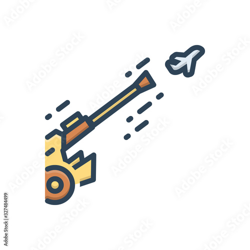 Photo Color illustration icon for antiaircraft