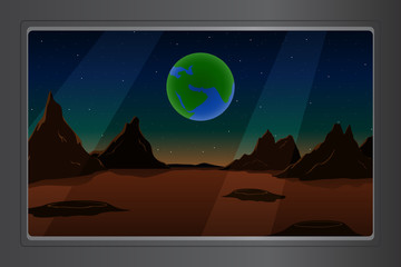 View of Mars from porthole of spaceship. Vector illustration.