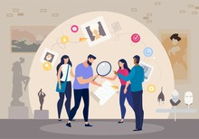 People Working Together To Solve Mystery About Art History In Quest Room, Museum Visitors Playing In Quiz, Friends Planning Museum Visit, Scientist Works On Research Trendy Flat Vector Illustration