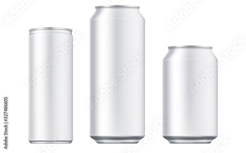 Vector aluminium beer and slim soda can mock up blank template. Juice, soda, beer jar blank isolated on white background. Aluminum can for design. Realistic aluminum cans.