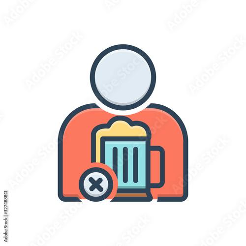 Color illustration icon for avoided Wallpaper Mural
