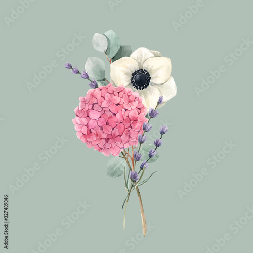 Obraz na płótnie Beautiful vector gentle bouquet with watercolor pink hydrangea flowers and white anemones with lavander