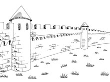 Castle Wall Medieval Graphic B...