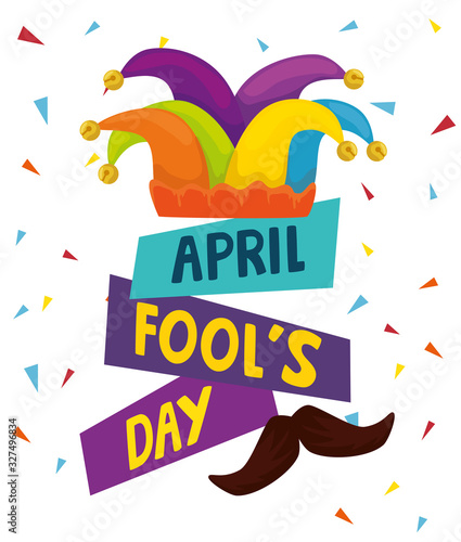 april fools day with hat buffoon vector illustration design Fototapeta