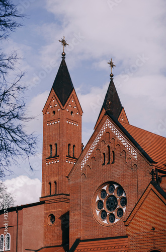 Red church of St. Simon and Alena in Minsk Canvas Print