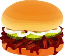 Chopped Beef Barbecue Sandwich With Barbecue Sauce, Pickles, Onions