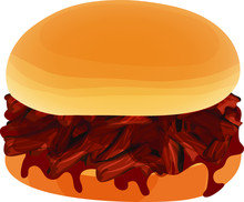 Chopped Beef Barbecue Sandwich With Barbecue Sauce