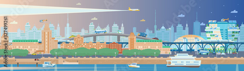 Fototapeta Long horizontal evening summer cityscape with embankment, boats, ferry, bullet trains, rail ways, buildings, scyscrapers. plane, helicopter, cars, trees etc. City panorama. Flat vector illustration. obraz