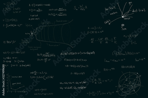 Astronomy and astrophysics, formulas for physics mathematics and astronomy on a dark green chalk Board Canvas Print