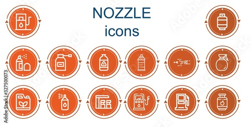 Editable 14 nozzle icons for web and mobile Canvas Print