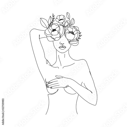 Trendy abstract one line woman body with flowers and leaves Fototapeta
