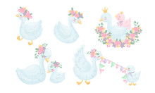 Cartoon Goose Character With Golden Crown And Floral Wreath Sleeping And Sitting With Its Gosling Vector Set