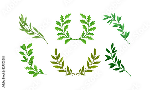 Tablou Canvas Wreath of Leaves and Branches with Separate Twigs Vector Set