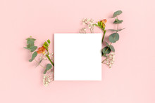 Blank Paper Card Mockup With F...