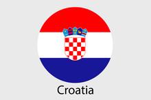 Croatian Flag Icon, Croatia Country Flag Vector Illustration