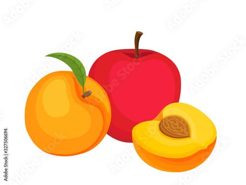 Fotografie, Obraz Bright vector set of colorful peach and apple.