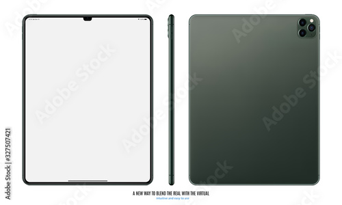 tablet green color with blank touch screen front, back and side view with shadow isolated on white background Canvas Print
