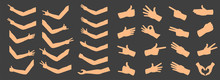 Creative Vector Illustration Of Gesturing Hands, Arm, Finger Sign Set Isolated On Background. Art Design Counting Gestures, Arm Handshake Template. Female And Male Hands. Abstract Concept Emotions