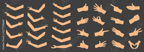 Fototapeta Creative vector illustration of gesturing hands, arm, finger sign set isolated on background