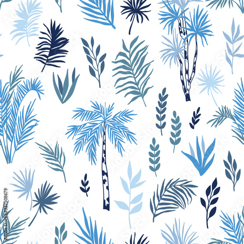 Tropical seamless pattern with exotic palms and leaves. Vector forest landscape