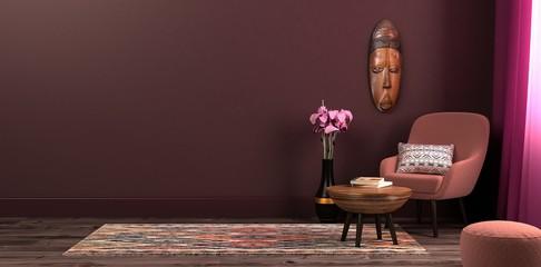szablon makieta przestrzeń robocza na tle wnętrza w stylu etnicznym, fotel stolik i dekoracje w naturalnym świetle. Ilustracja 3D