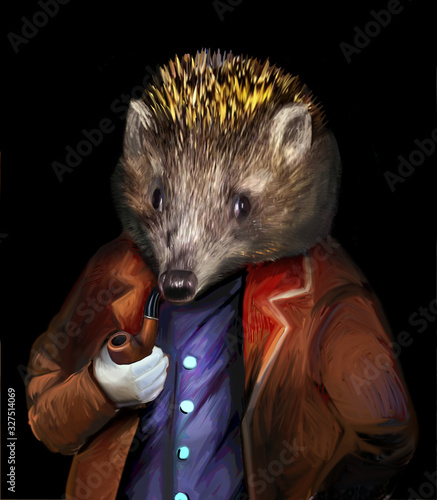 Photo Hedgehog in clothes with a pipe anthropoid animal