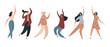 Diverse women dancing in excitement. Flat vector illustration
