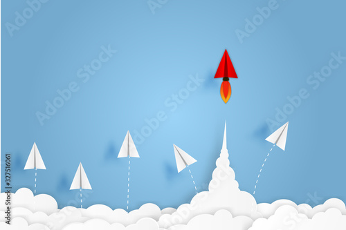 Paper plane go to success goal vector business financial concept start up, leadership, creative idea symbol paper art style with copy space for text Wallpaper Mural