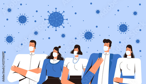 Obraz Group of people in medical masks looks at the 2019-nCoV coronavirus flying in the air. Young men and women confront the new virus. The concept of combating COVID-2019 - fototapety do salonu