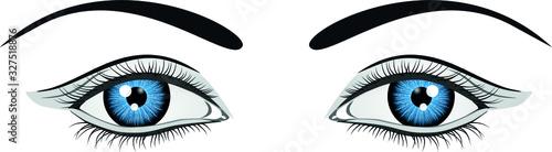 ilustración ojos azules. Archivo vectorial Wallpaper Mural
