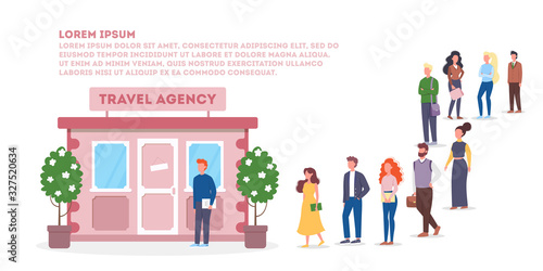 Obraz Vector illustration of big queue of people standing towards a travel agency - fototapety do salonu